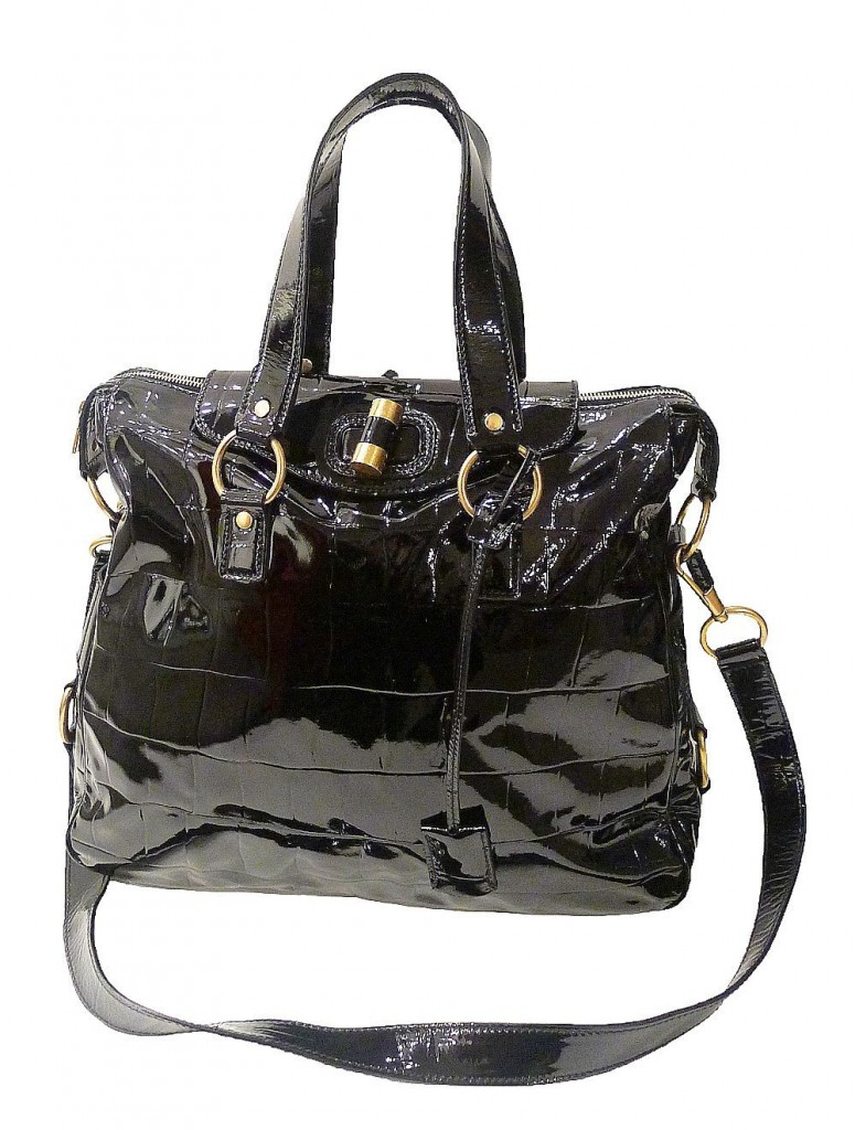 Purse Quote -  Yves Saint Laurent YSL Black Patent Leather Tote