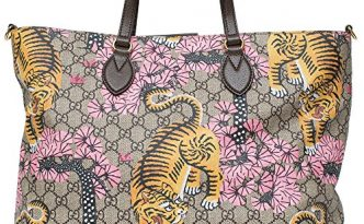 2a19e06bfa98 Gucci Bengal Tote Pink Shoulder Mixed Tiger Fabric leather Handbag Purse  Bag New