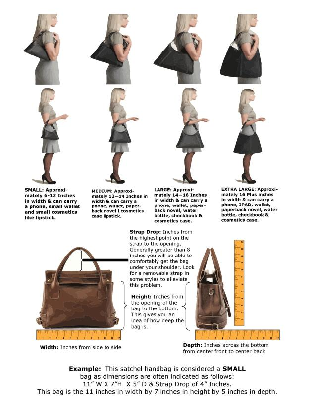 Hand bag size chart